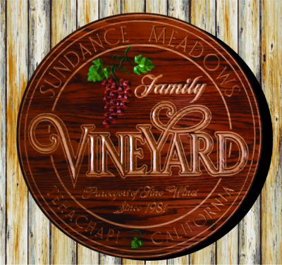 Personalized with Red Oark Stain, V-Carved & Flat Carved Natural Lettering, Hand Painted Artwork.